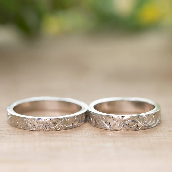 ハワイアンジュエリー ペアリング 結婚指輪 スクロール デザイン