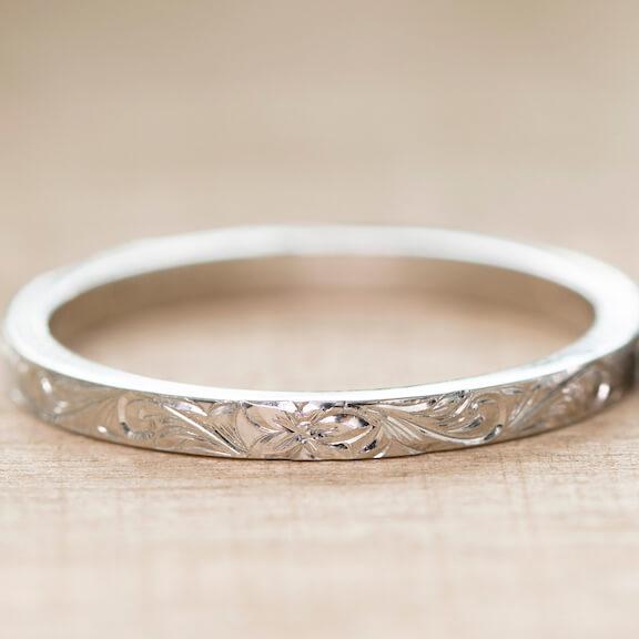 ハワイアンジュエリー 結婚指輪 スクロールリーフ デザイン拡大