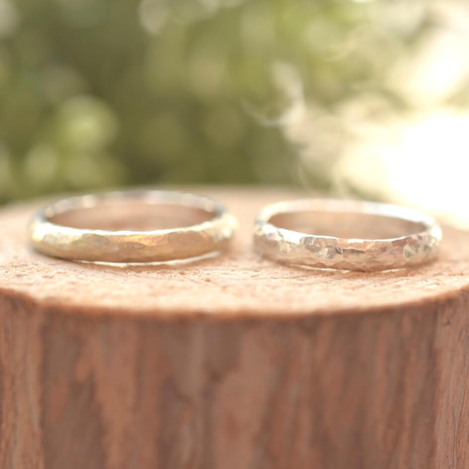 手作り結婚指輪 ハンマー仕上げ 作品例01