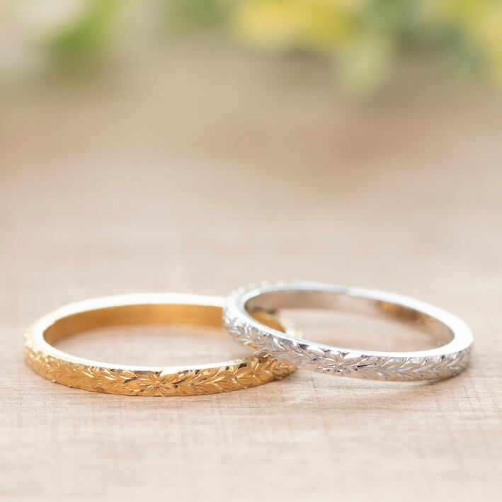 華奢なハワイアンジュエリー・結婚指輪