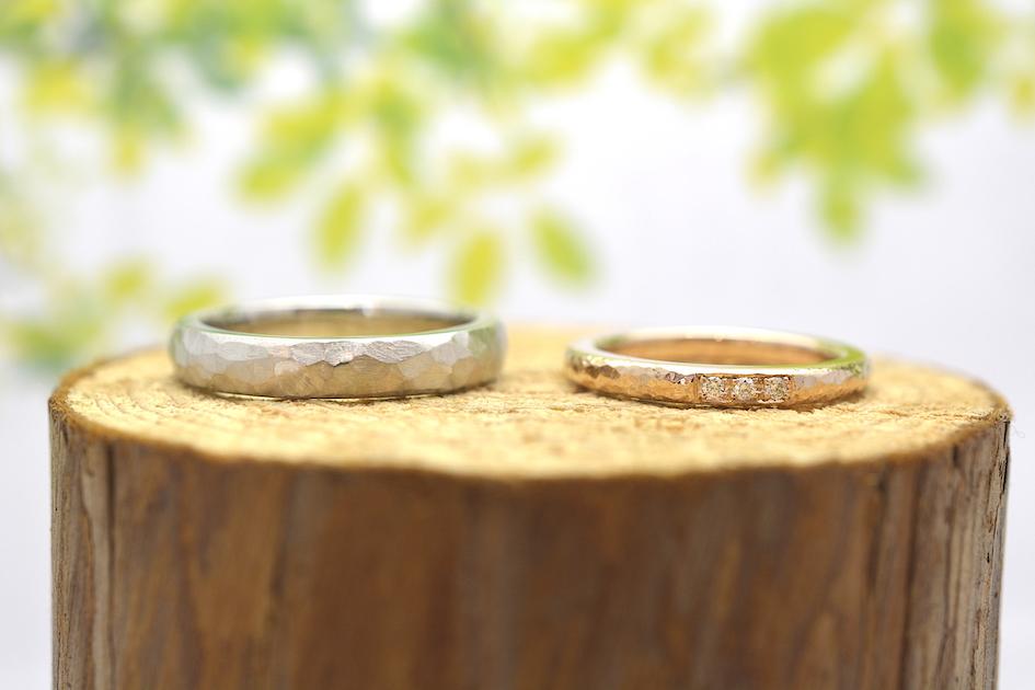 二人で作る手作り結婚指輪 作品例 プラチナとピンクゴールド