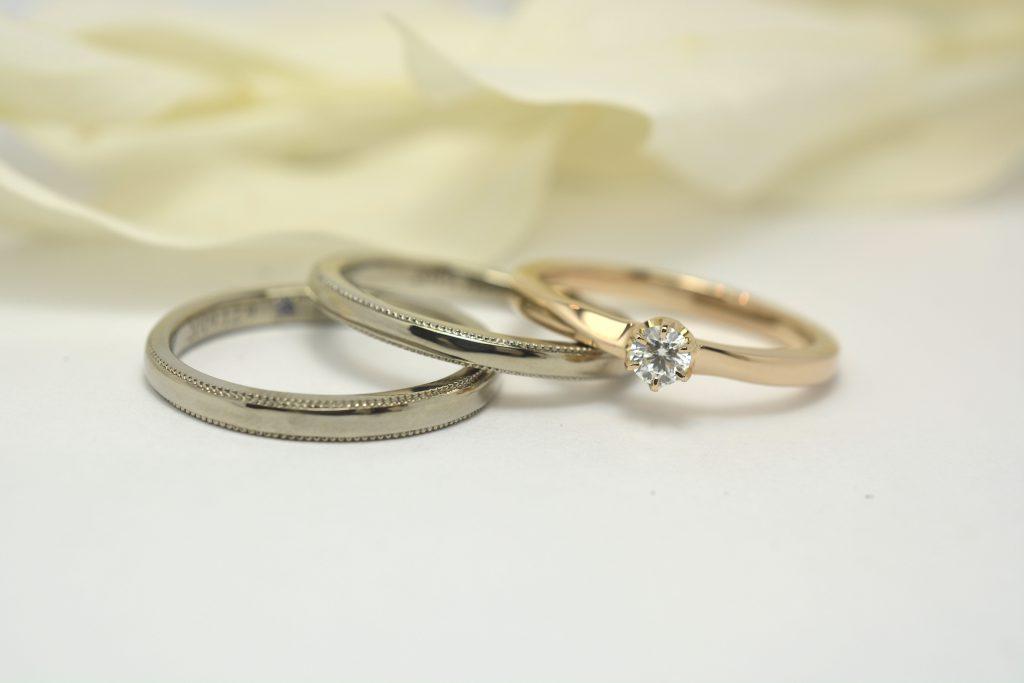 手作り結婚指輪と婚約指輪 重ねづけ ピンクゴールド ダイヤモンド エンゲージリング ミルウチ ホワイトゴールド