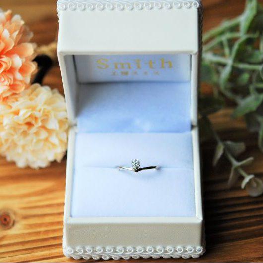 手作り婚約指輪・K18ホワイトゴールド