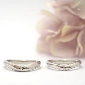 手作り結婚指輪 プラチナとダイヤモンドの指輪