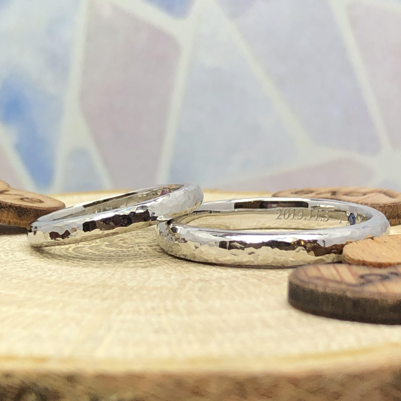 槌目仕上げ・結婚指輪・工房スミス