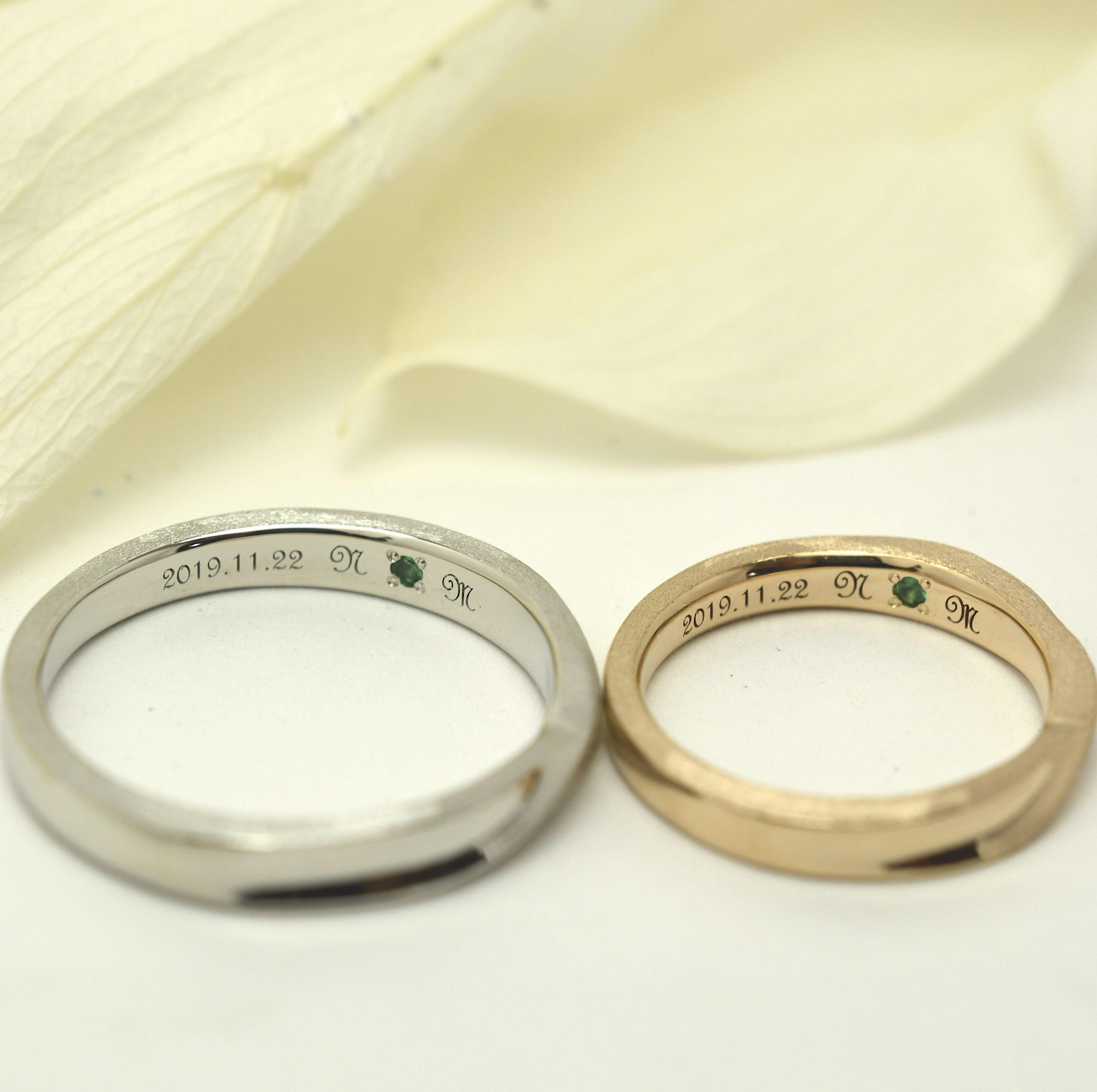 レーザー刻印と誕生石入りの手作り結婚指輪