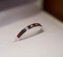 ななこ留め(一粒、内石)の結婚指輪