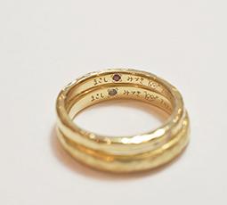 手書きレーザー刻印(内側)された結婚指輪