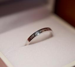 手書きレーザー刻印(外側)された結婚指輪