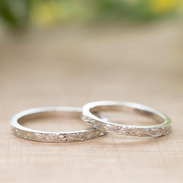 ハワイアンジュエリー 結婚指輪 スクロールリーフ デザイン