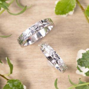 ハートプラチナを使った手作り結婚指輪、ハワイアンリング