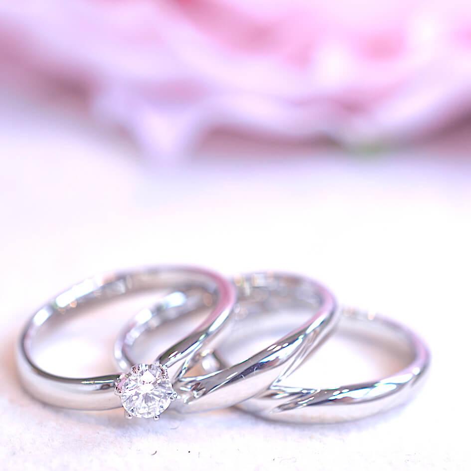 結婚指輪と婚約指輪 3本セット 手作り