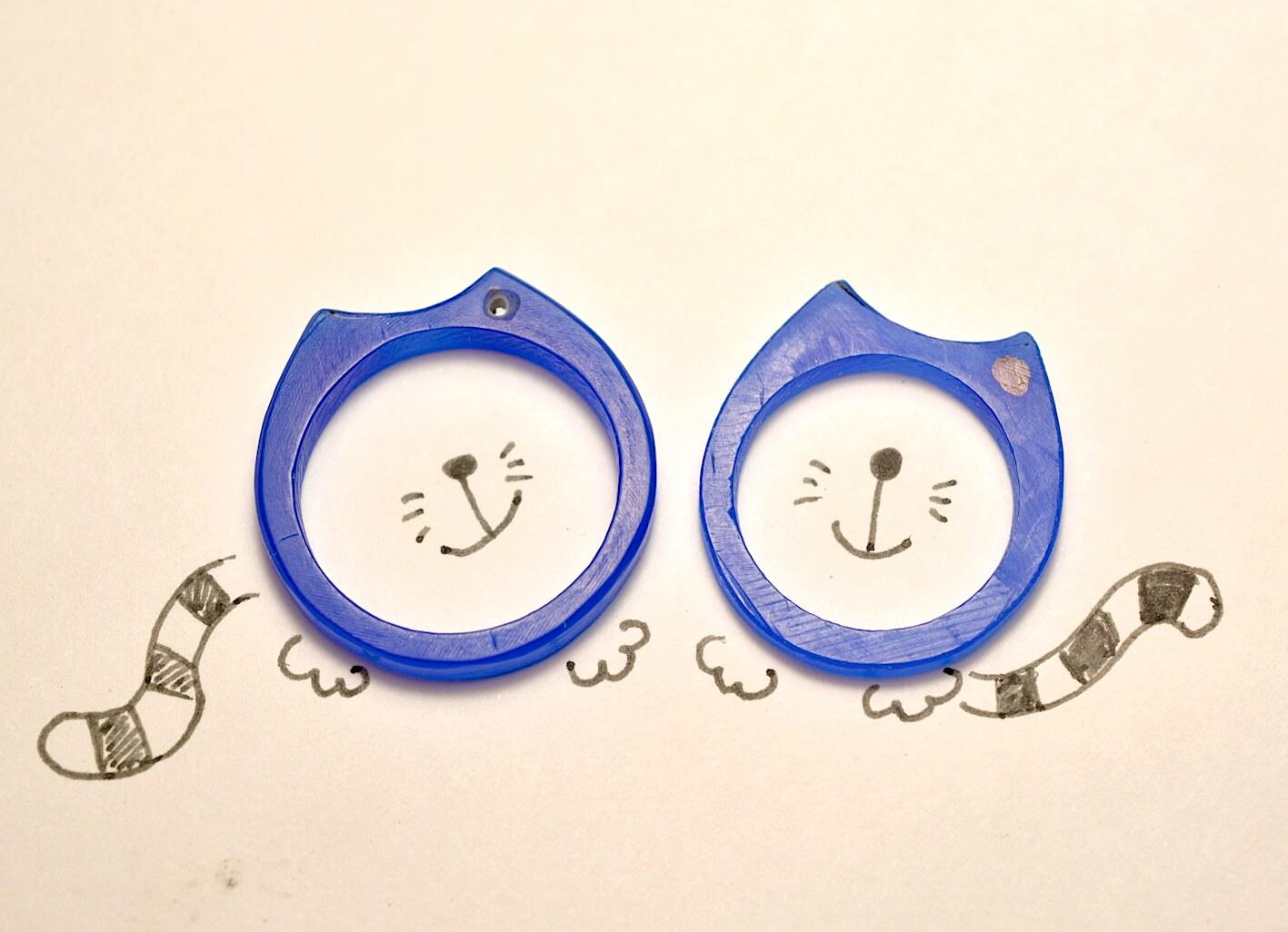 猫モチーフの結婚指輪 誕生石つき 手作り指輪 工房スミス