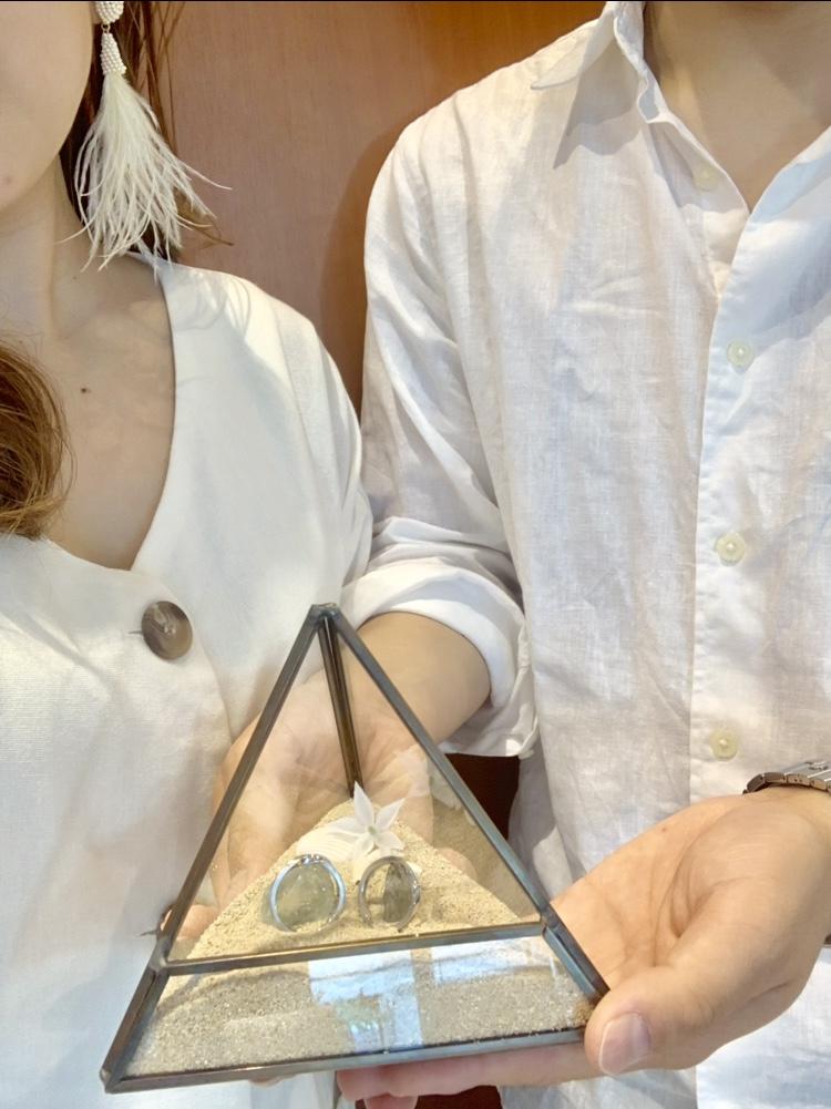 お客様による、手作りリングピローと結婚指輪