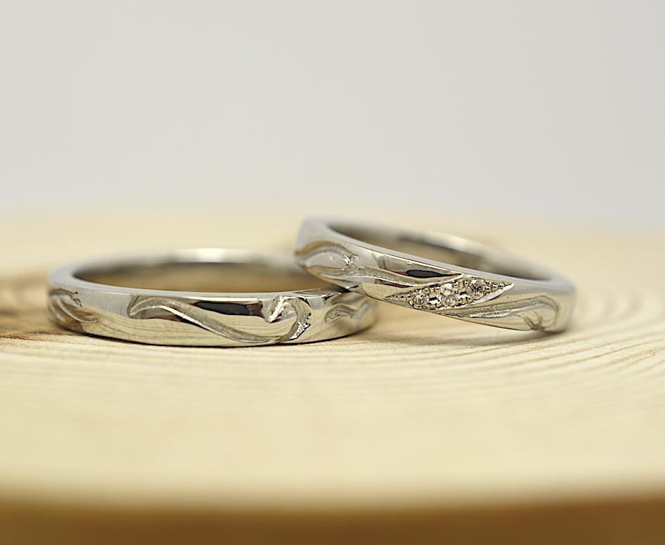手作り結婚指輪ダイヤモンドを入れた作品例 ワックス工法