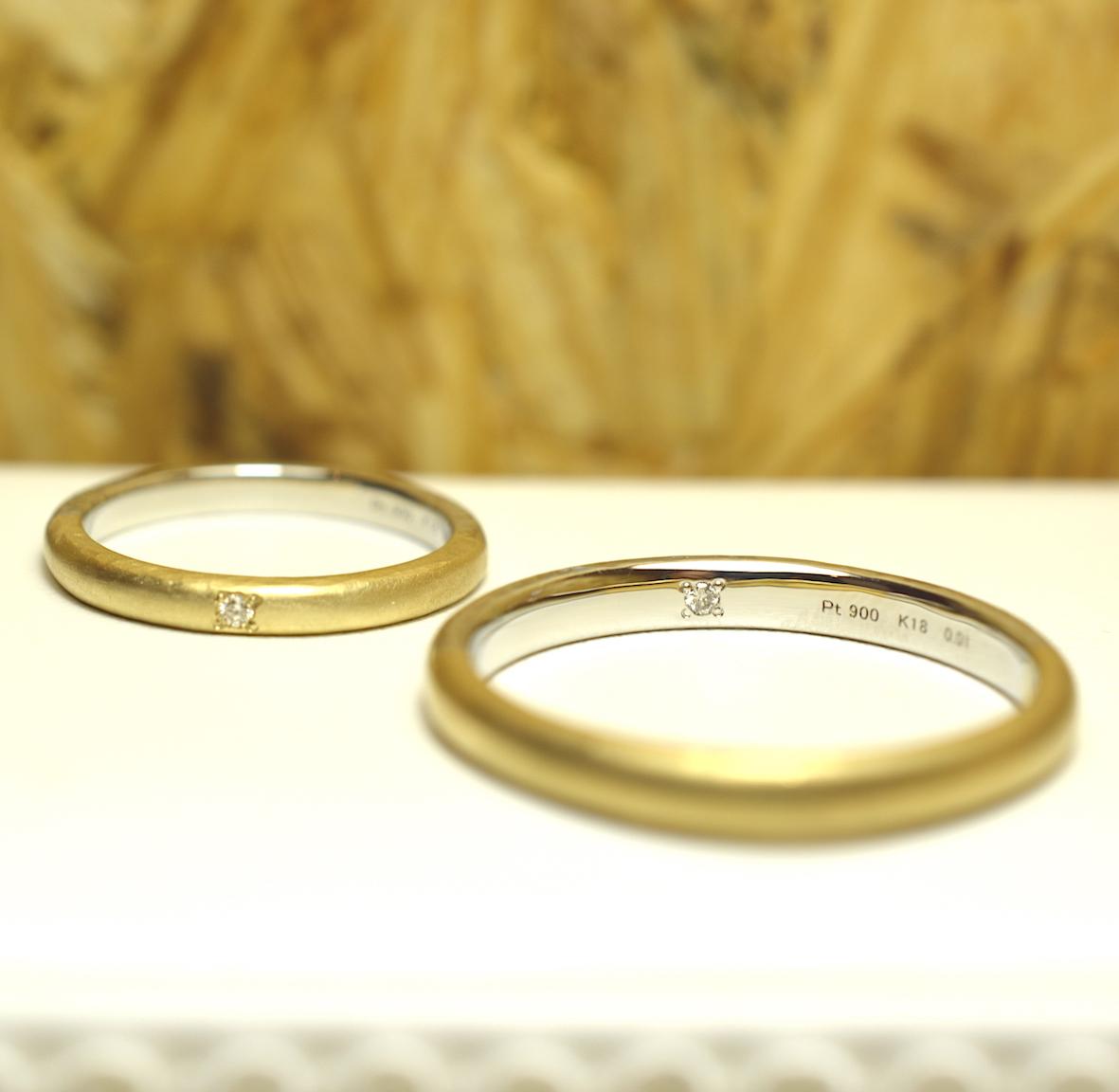 レディースは外側、メンズは内側に誕生石を入れた結婚指輪