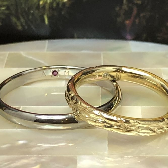 WAX工法・手作り結婚指輪・工房スミス・異なるデザインの結婚指輪