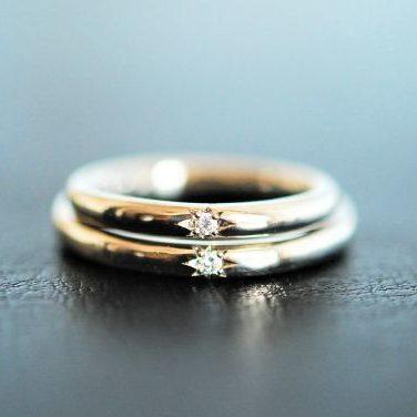 手作り結婚指輪・工房スミス・彫金工法・ダイヤモンド・五光留
